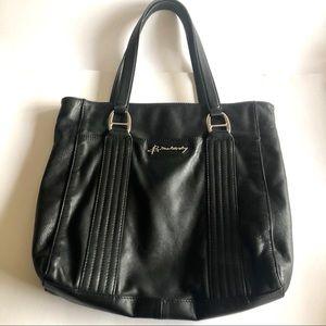 B. Makowsky Black Leather Shoulder Tote Bag EUC